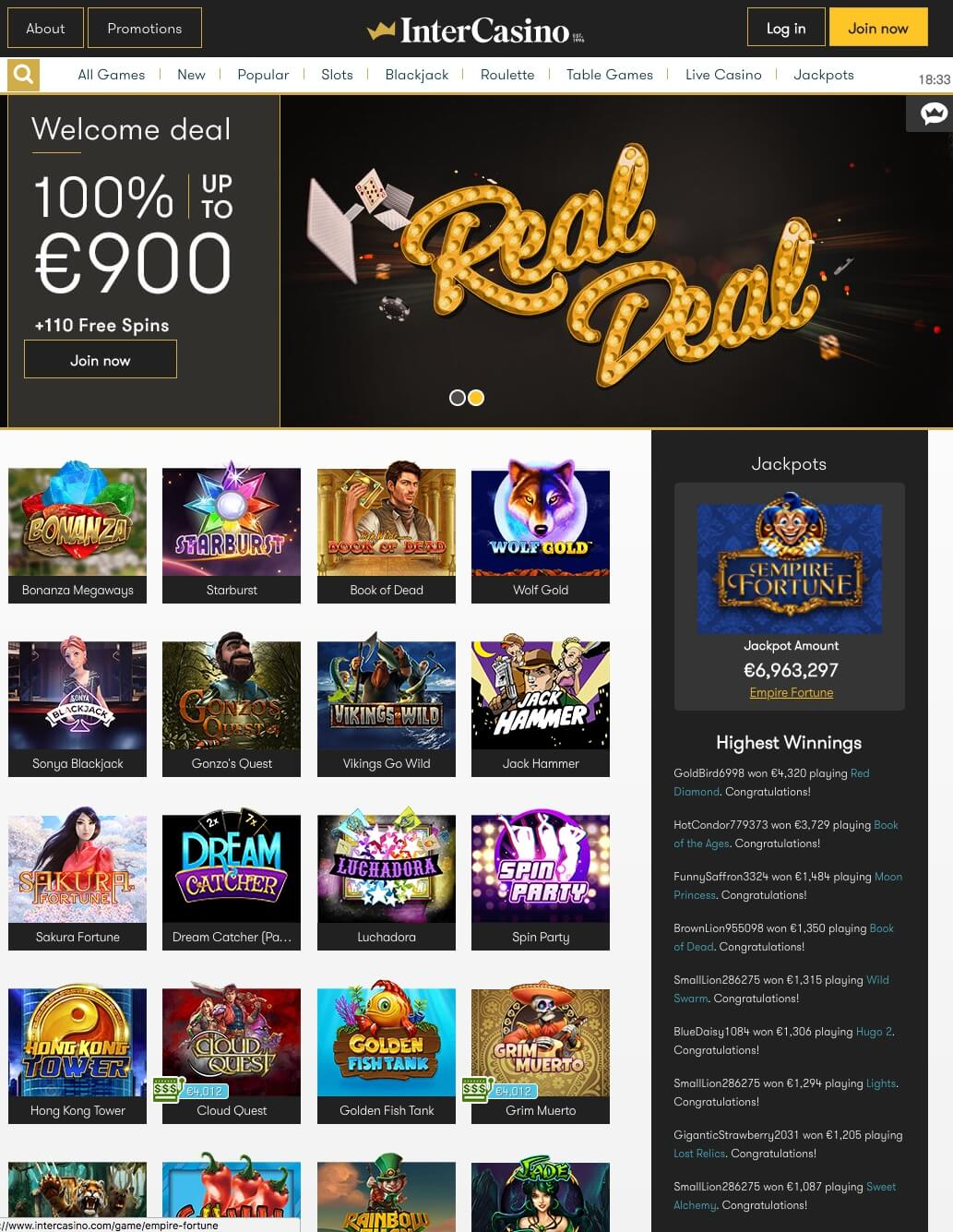 Intercasino Bonus And Review Sign Up Offer And Free Spins