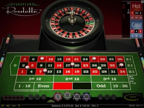 NetEnt's European Roulette Table Game